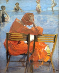 john-lavery-irish-painter-1856-1941-girl-in-a-red-dress-reading-by-a-swimming-pool