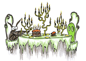 bat-and-ghost-having-halloween-cake