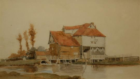 River with Wooden Mill House